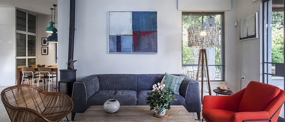 הלבשת-הבית- ספה AS IS, הביטאט, גלוריה מונדי, ציור סאלאח קרא